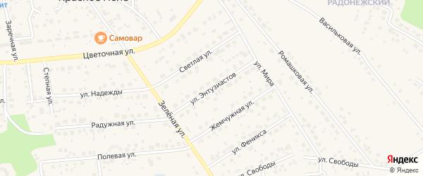 Улица Энтузиастов на карте поселка Красного Поля с номерами домов