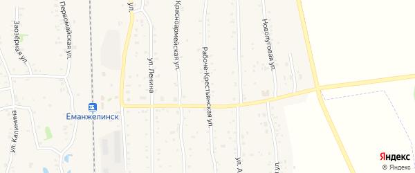 Рабоче-крестьянская улица на карте Зауральского поселка с номерами домов