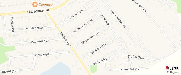 Жемчужная улица на карте поселка Красного Поля с номерами домов