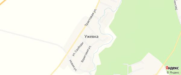 Карта деревни Ужевки в Челябинской области с улицами и номерами домов