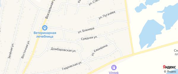 Средняя улица на карте Красногорского поселка с номерами домов