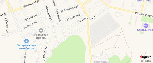 Новочелябинская улица на карте Южноуральска с номерами домов