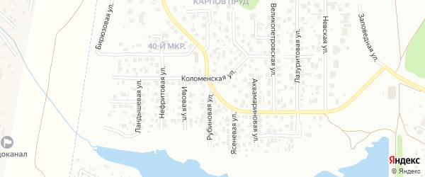 Рубиновая улица на карте Челябинска с номерами домов