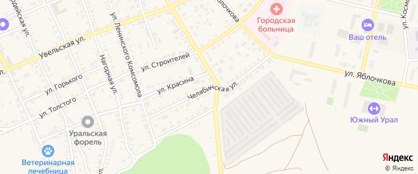 Челябинская улица на карте Южноуральска с номерами домов