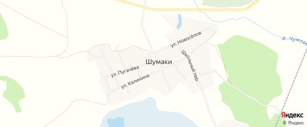 Карта деревни Шумаки в Челябинской области с улицами и номерами домов