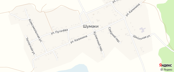 Улица Калинина на карте деревни Шумаки с номерами домов