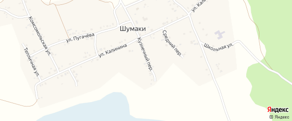 Кузнечный переулок на карте деревни Шумаки с номерами домов