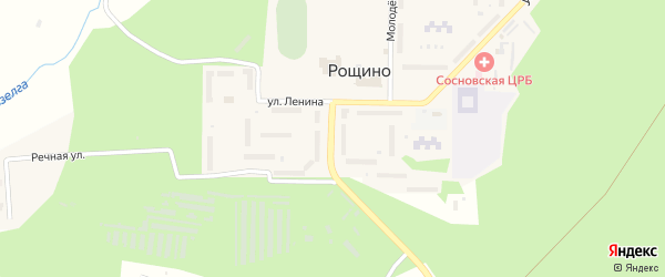 Фабричная улица на карте поселка Рощино с номерами домов