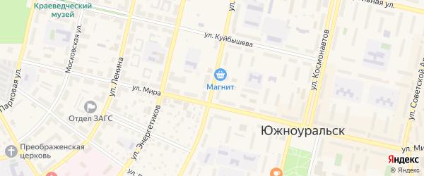 Улица Строителей на карте Южноуральска с номерами домов