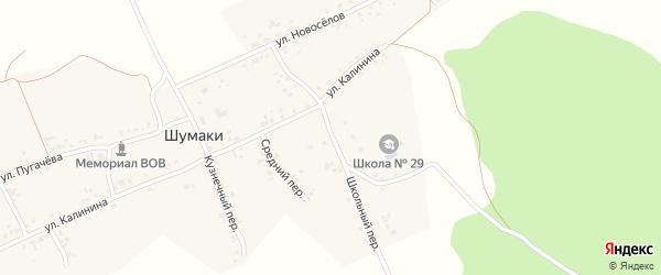 Школьная улица на карте деревни Шумаки с номерами домов
