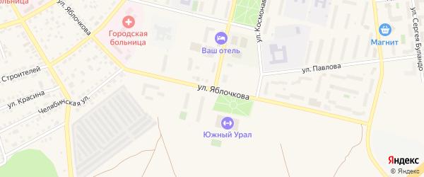 Улица Яблочкова на карте Южноуральска с номерами домов