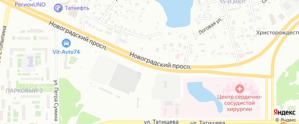 Новоградский проспект на карте Челябинска с номерами домов