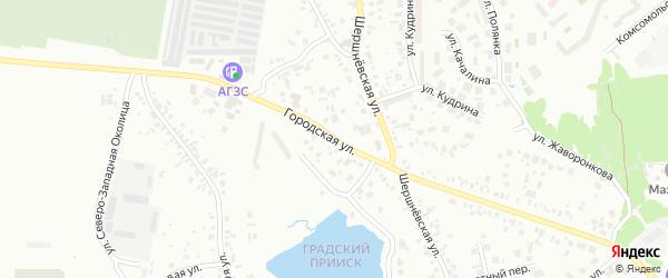 Городская улица на карте Челябинска с номерами домов