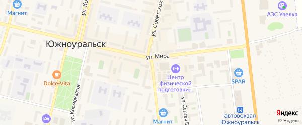 Улица Советской Армии на карте Южноуральска с номерами домов