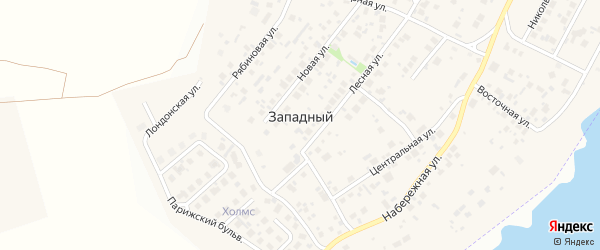 Улица Рассветная (мкр Западный-2) на карте Западного поселка с номерами домов