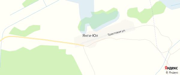 Карта деревни Янги-Юл в Челябинской области с улицами и номерами домов
