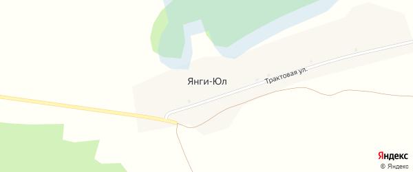 Трактовая улица на карте деревни Янги-Юл с номерами домов