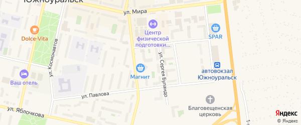 Улица Сергея Буландо на карте Южноуральска с номерами домов