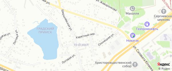 Каретный переулок на карте Челябинска с номерами домов