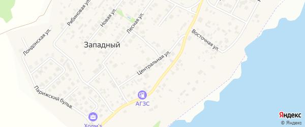 Центральная улица на карте Западного поселка с номерами домов