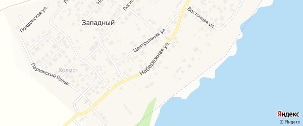Набережная улица на карте Западного поселка с номерами домов