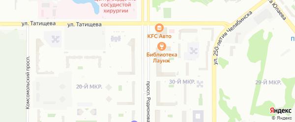 Проспект Героя России Родионова Е.Н. на карте Челябинска с номерами домов