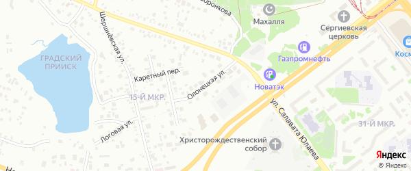 Олонецкая улица на карте Челябинска с номерами домов