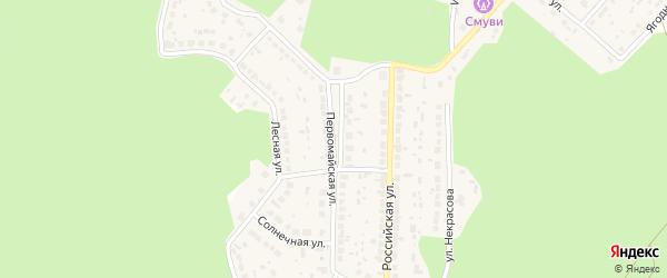 Первомайская улица на карте поселка Рощино с номерами домов