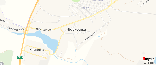 Карта поселка Борисовки города Еманжелинска в Челябинской области с улицами и номерами домов