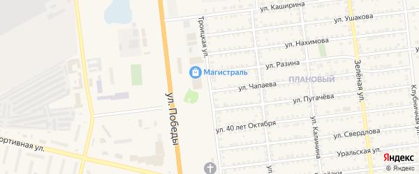Троицкая улица на карте Южноуральска с номерами домов