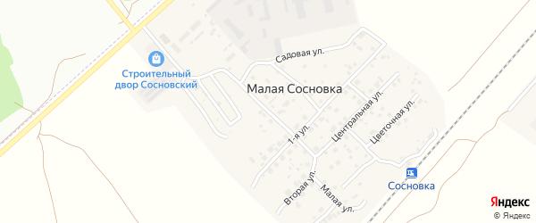 Юбилейная улица на карте поселка Малой Сосновки с номерами домов