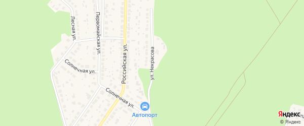 Улица Некрасова на карте поселка Рощино с номерами домов