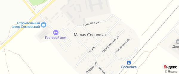 Центральная улица на карте поселка Малой Сосновки с номерами домов