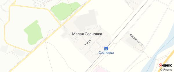 Карта поселка Малой Сосновки в Челябинской области с улицами и номерами домов
