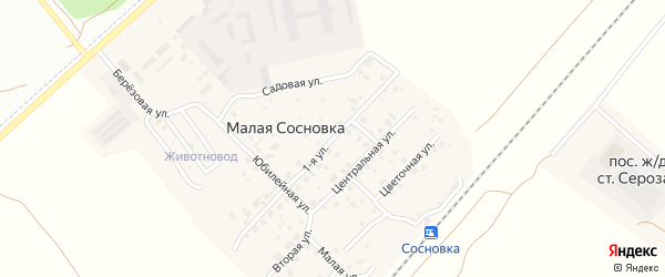 Солнечная улица на карте поселка Малой Сосновки с номерами домов