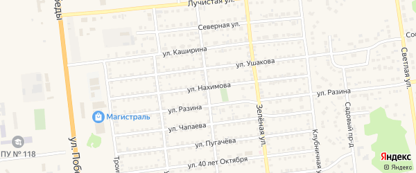 Улица Нахимова на карте Южноуральска с номерами домов