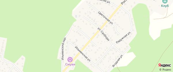 Рябиновая улица на карте поселка Рощино с номерами домов