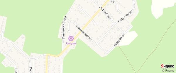 Ильменская улица на карте поселка Рощино с номерами домов