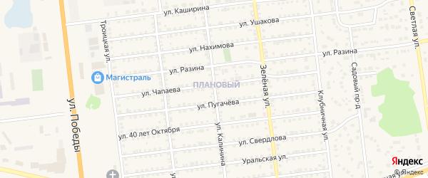 Улица Калинина на карте Южноуральска с номерами домов