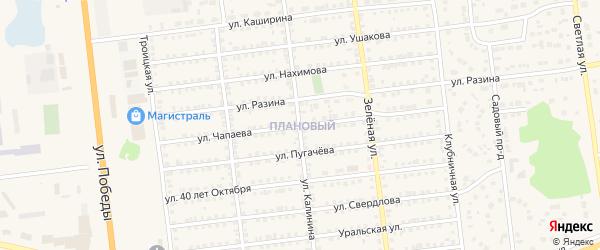 Улица Чапаева на карте Южноуральска с номерами домов