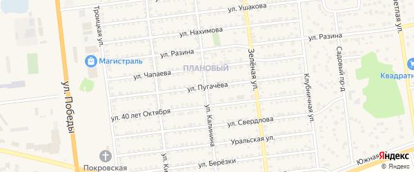 Улица Пугачева на карте Южноуральска с номерами домов
