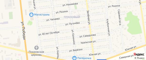 Улица 40 лет Октября на карте Южноуральска с номерами домов
