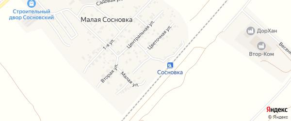 Цветочная улица на карте поселка Малой Сосновки с номерами домов