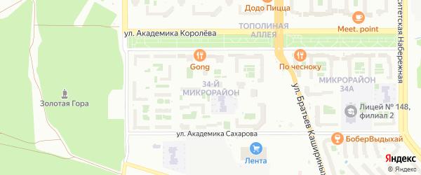 34-й микрорайон на карте Челябинска с номерами домов