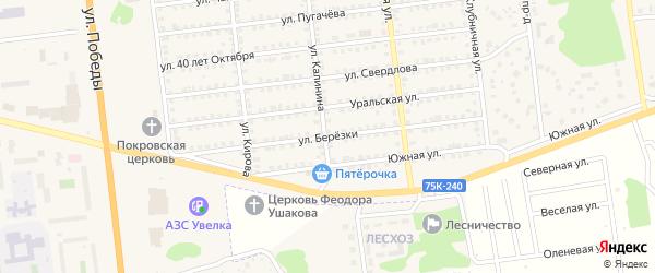 Улица Березки на карте Южноуральска с номерами домов