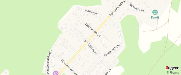 Российская улица на карте поселка Рощино с номерами домов
