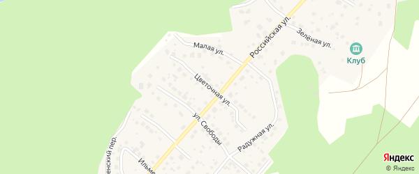Цветочная улица на карте поселка Рощино с номерами домов