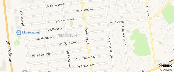 Зеленая улица на карте Южноуральска с номерами домов