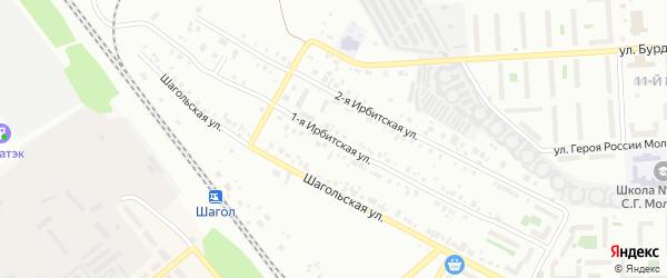 Ирбитская 1-я улица на карте Челябинска с номерами домов