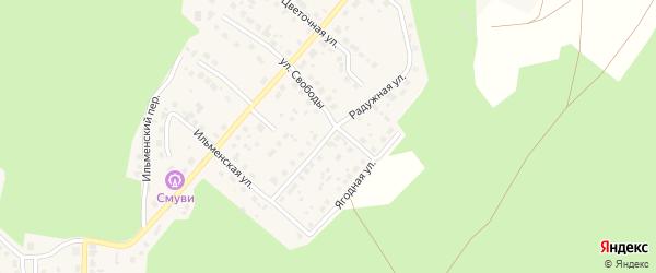 Радужная улица на карте поселка Рощино с номерами домов